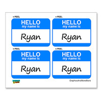Ryan Hello My Name Is - Sheet of 4 Stickers
