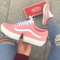 Vans Old Skool Classic Pink Flats Sneakers Sport Shoes Tagre™