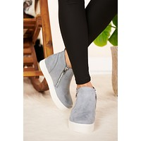 Feeling Blue Wedge Sneakers (Steel Blue)