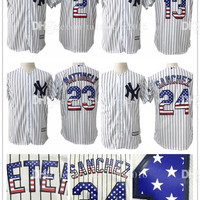 Stitched Mens 23 Don Mattingly USA Flag Fashion Baseball Jerseys New York Yankees 2 Derek Jeter 13 Alex Rodriguez 24 Gary Sanchez Jersey