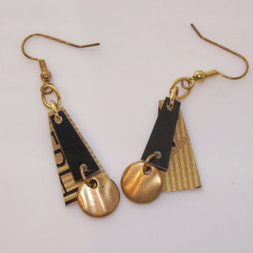 Hand Crafted Earrings, Repurposed Gold and Black Credit Card Earrings with Goldtone Ear Wires Gold Metal Disks and Beads.