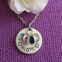 Mom Necklace - Mother's Day Gift - Birthstone Necklace - Grandmother Necklace - Hand Stamped Jewelry - Gift for Mom - Mom