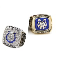 Custom championship ring    Drop shipping 2pcs zinc alloy 1970/2006 Indianapolis Colts championship rings for boyfriend