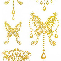 """Spestyle the best temporary tattoos product dimension (17*9.5cm) 6.69""""""""x3.74"""" jewelry butterfiles Gold golden fake temporary tattoo stickers"""