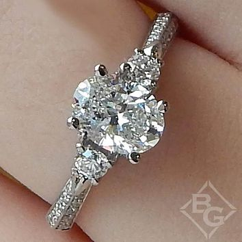 Simon G. Three Stone Oval Cut Vintage Style Engagement Ring