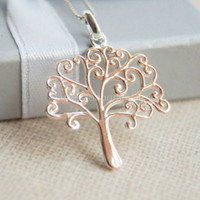 Rose gold plated tree necklace,925 Sterling Silver tree necklace,simple cute necklace