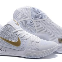 Nike Kyrie Irving 3 Christmas White/Gold Sport Shoes US7-12