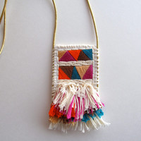 Textile pendant necklace in violet orange blue brown and tan on gold leather cord Summer jewelry 2014