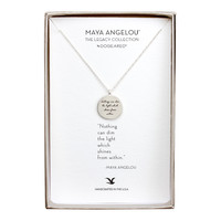"""Maya Angelou """"Light"""" Quote Pendant Necklace, Sterling Silver 