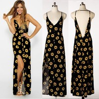 Stylish Sun Flower Floral Maxi Dress = 5826321473