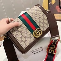 GUCCI Fashion New Stripe More Letter Leather Shopping Leisure Shoulder Bag Crossbody Bag