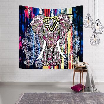 Cheap Multi Color Indian Elephant Tapestry Bohe Mandala Hanging Wall Tapestries for Home Decorative Yoga Mat New Belgium Tapete