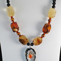 Geode Slice Necklace with Citrine and Copper by BellaSweetJewelry