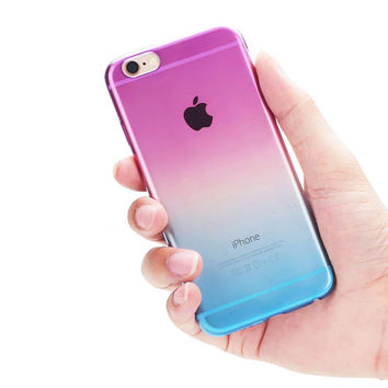 Fashion Gradient TPU Clear Transparent For Apple Iphone 6 case 4.7  inch