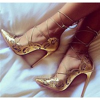 New ladies temperament sexy hollow strap high heels high quality