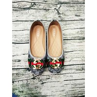 Gucci Big logo Green Red Stripe Print Flat Shoes Canvas Women Sandals Shoes B