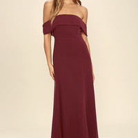 Perfectly Poised Wine Red Off-the-Shoulder Maxi Dress
