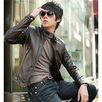 Mens Slim Casual Faux Leather Jacket