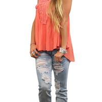 Lace Detailed Top - Coral