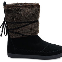 BLACK SUEDE FAUX HAIR WOMEN'S NEPAL BOOTS