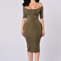 Always Running Late Dress - Olive