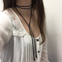 Genuine Leather Bolo Wrap Tie Choker Necklace