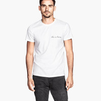 T-shirt with Embroidered Text - from H&M