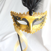 Masquerade Mask with handle - Gold and Black