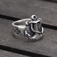 Nautical Anchor ring in Sterling Silver by SilverBeyondOrdinary