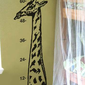 Vinyl Wall Art Decal Safari Giraffe Growth Chart #147