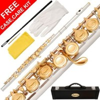 180-NK - Silver NICKEL/GOLD Keys Closed C Flute Lazarro+Pro Case,Care Kit - 10 COLORS Available ! CLICK on LISTING to SEE All Colors