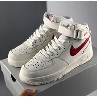 Nike Air Force One AF1 Creamy White Mid-Top Sneakers Built-in Air Cushion Shoebox with Chips Air Force 1 Low a€?07 Classic High-Top Sneakers