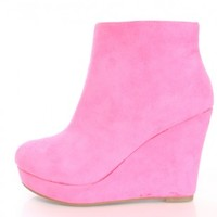Fuchsia Wedge Ankle Booties Faux Suede