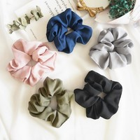 Lady Hair Scrunchies Ring Elastic Hair Bands Pure Color Bobble Sports Dance Scrunchie
