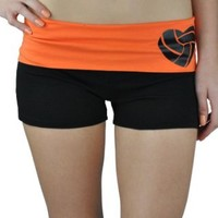 Activewear Apparel Women's Two Tone Fold over Volleyball Cotton Spandex Shorts
