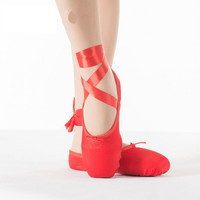 New Child and Adult Ballet Pointe Dance Shoes Ladies Professional Ballet Dance Shoes With Ribbons Shoes Pink Red