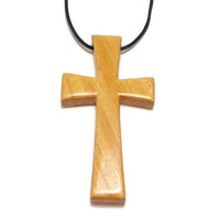 Cross Necklace, Cross Pendant, Large Wooden Cross, Men's Necklace, Osage Orange Cross, Carved Wooden Cross