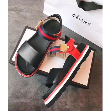 GUCCI Women Leather and Web Sandal
