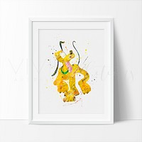 Pluto Watercolor Art Print