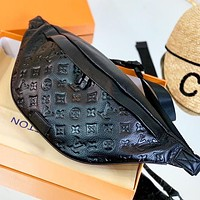 LV New Fashion Monogram Print Leather Waist Bust Bag Shoulder Bag Crossbody Bag Black