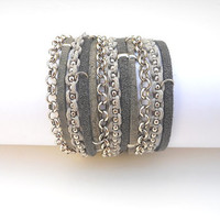 2 Shades of Grey Suede cord, A Grey Cotton Cord Macrame and A Pea Nickel Chain - 3X Wrap Bracelet