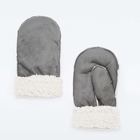 Grey Shearling Mittens - Urban Outfitters
