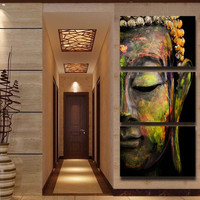 3 panel HD Printed oil painting colorful Buddha canvas print modern home decor Wall art Picture for living Room gifts no framed