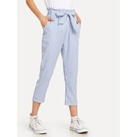 Striped Knot Front Pant Blue