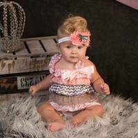 Pink and Gray Chevron Print Petti Lace Romper 2pc Set-Birthday Petti Lace Romper-Photo Props-Cake Smash-1st Birthday PETTI ROMPER