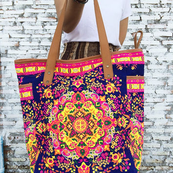 Weekender Bag Summer Large Tote Canvas bag Colorful Neon Printed Canvas Tribal Hobo Hippie bag Weekender bag Beach bag Boho Bag Beach Purse.