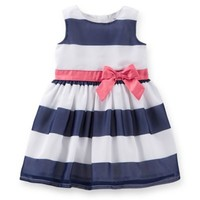 Carter's® 2-Piece Crepe Striped Dress and Diaper Cover Set in Blue/White/Pink