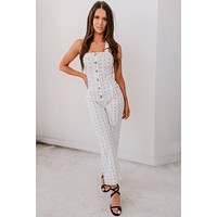 Feel The Fun Printed Button Up Jumpsuit (Off White)