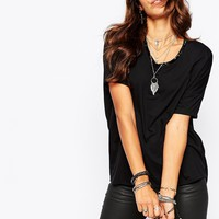 Religion Sexy Drapy T-Shirt With Open Back & Bead Detail