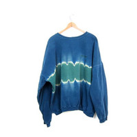 80s 90s E.N.U.F Sweatshirt Distressed Blue Green Tie Dyed Athletic Grunge Sweatshirt Boho Hipster Pullover Worn In Shirt Unisex Large
